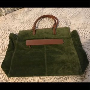 J. Crew green suede leather tote